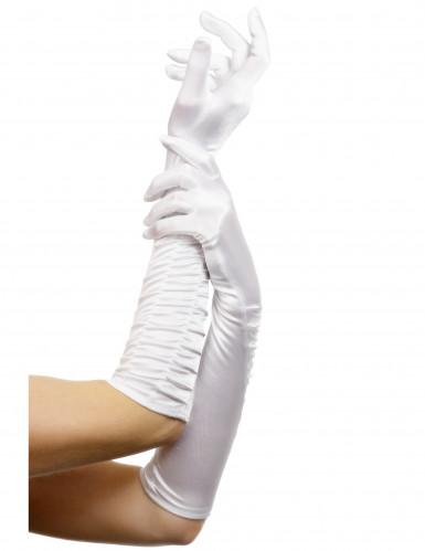 Långa vita glamourhandskar - Maskeradtillbehör