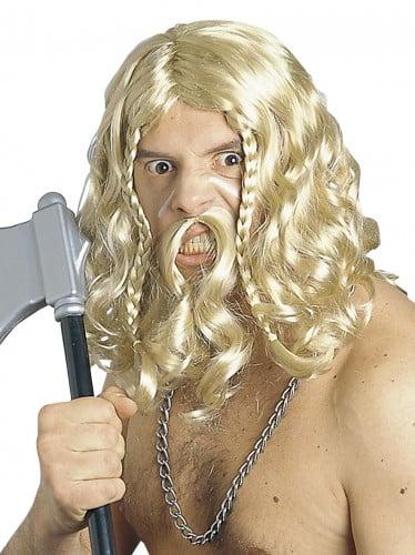 Vikinga peruk och mustasch för vuxna