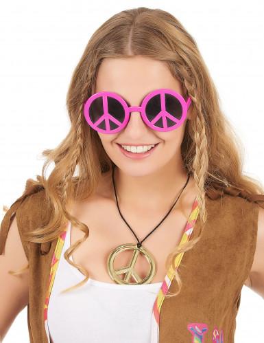 Rosa hippie glasögon vuxen-1