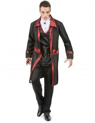 Elegant vampyrdräkt med röda detaljer - Halloweenkostym