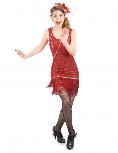 Dansa Charleston - Röd maskeradklänning för vuxna