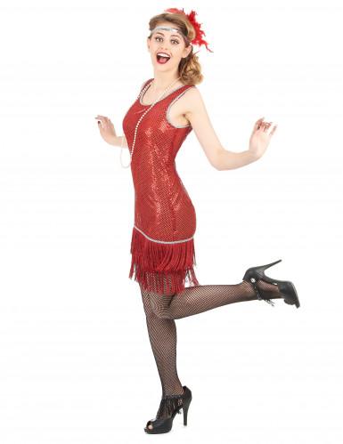Dansa Charleston - Röd maskeradklänning för vuxna-1