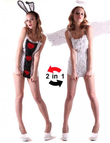 Kanin eller ängel - Kort 2-in-1 klänning för vuxna till festen