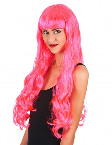 Långhårig rosa peruk