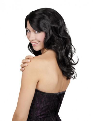 Glamorös i svart - Peruk med långt hår för vuxna