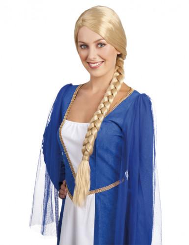 Medeltida blond peruk med flätor