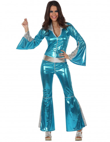 Blå discooverall till maskeraden för vuxna