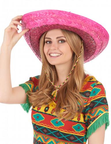 Rosa mexikansk sombrero för vuxna-2