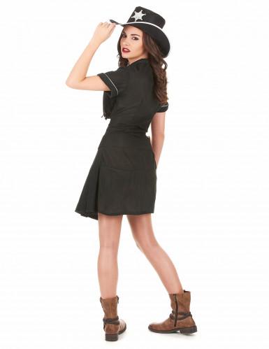 Svart cowgirl-dräkt klänning vuxen-2