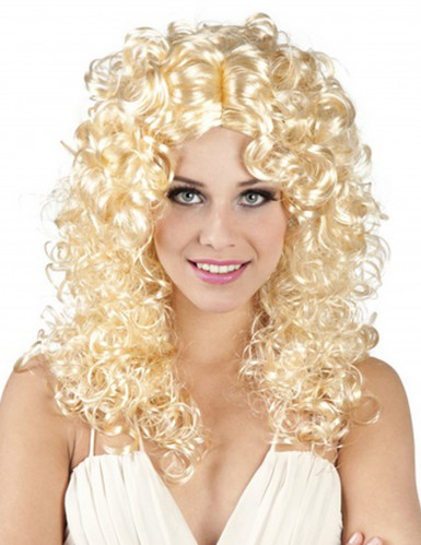 Peruk lockig blond