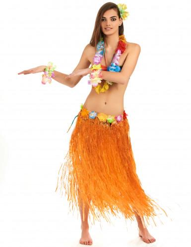 Lång orange söderhavsinspirerad kjol för vuxna