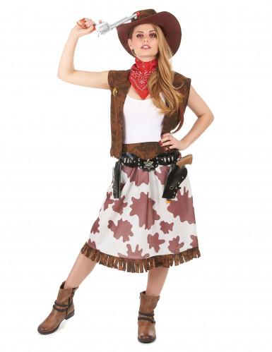 Cowgirl i grann kjol - Maskeraddräkt för vuxna