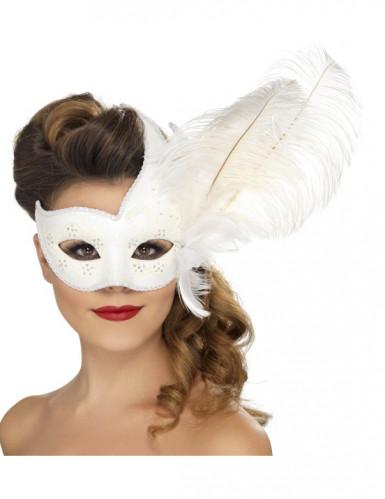 Venetiansk mask vit med vita fjädrar vuxenstorlek