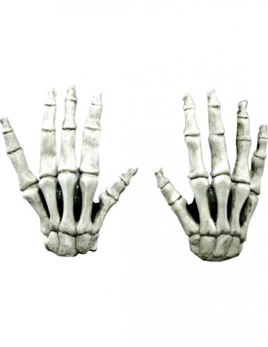 Korta handskar skelettben vuxen Halloween