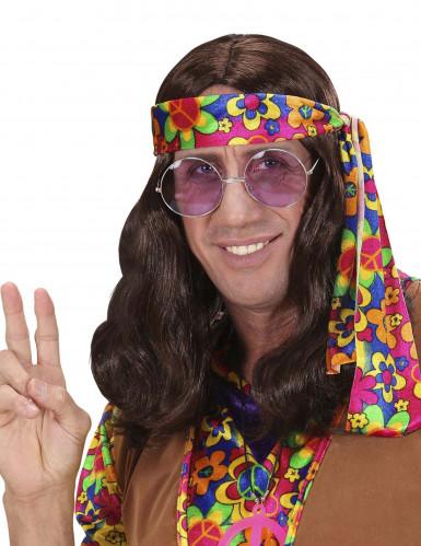 Brun hippieperuk vuxen