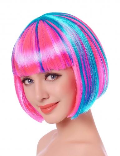 Rosa och blå peruk page vuxen