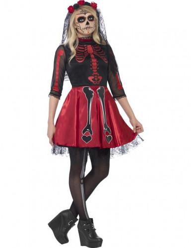 Rödglittrig skelettdräkt tonåring Halloween