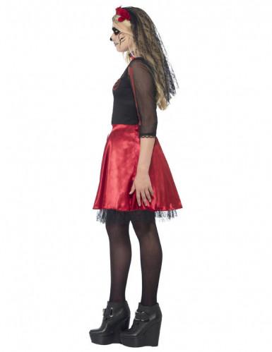 Rödglittrig skelettdräkt tonåring Halloween-1
