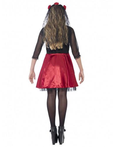 Rödglittrig skelettdräkt tonåring Halloween-2