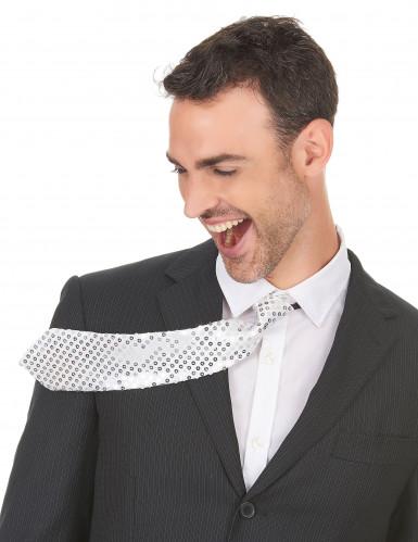 Corbata plateada lentejuelas adulto