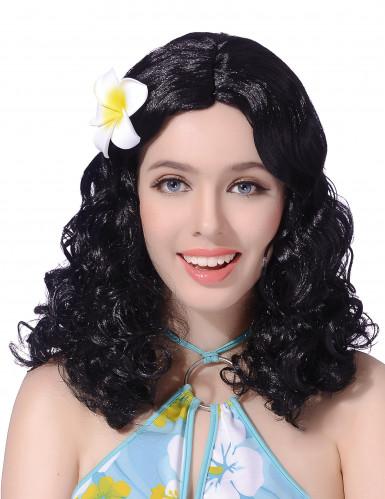 Svart lockig peruk för vuxna med blomma