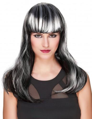 Svart peruk med vita slingor till Halloween