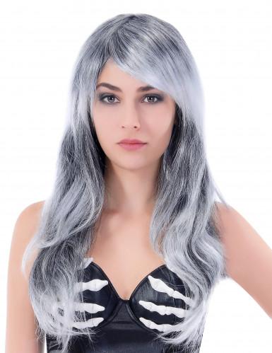 Lång och Vågig grå peruk