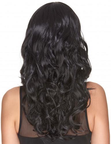 Lyxig svart vågig peruk med lugg - 221 g-2