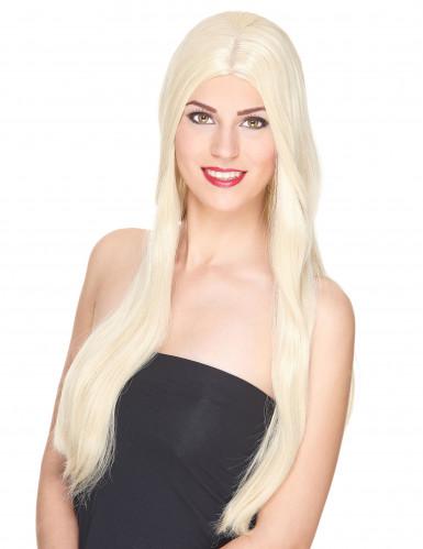 Väldigt lång lyxig blond peruk