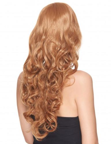 Lyxig lång röd lockig peruk med lugg för vuxna-1