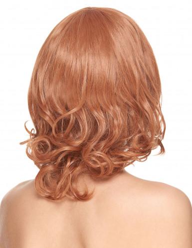 Lyxig halvlång röd peruk med lugg-1