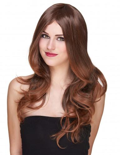 Lyxig lång kastanjebrun peruk