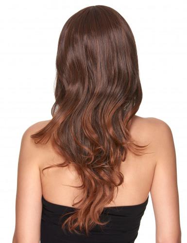 Lyxig lång kastanjebrun peruk-1