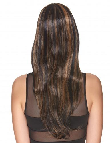 Lyxig kastanjebrun peruk med honungsfärgade slingor och lugg-1