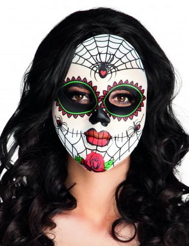 Dia de los muertos spindelnät mask vuxen