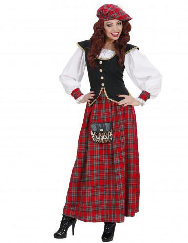 Skotskrutig långklänning