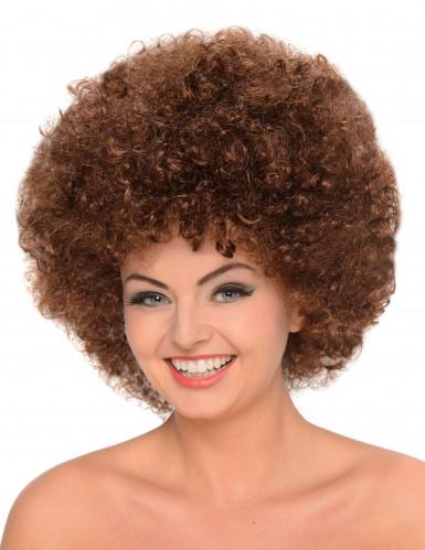 Kastanjebrun discoafro - Maskeradperuk för vuxna