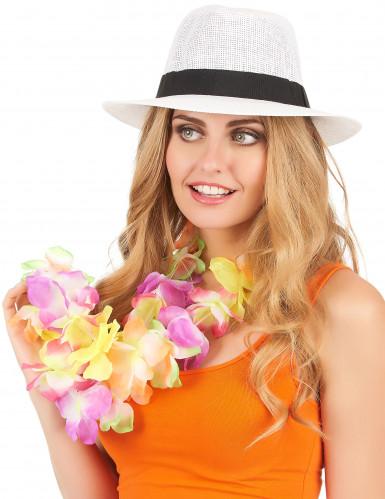 Vit Panama hatt med svart band-1