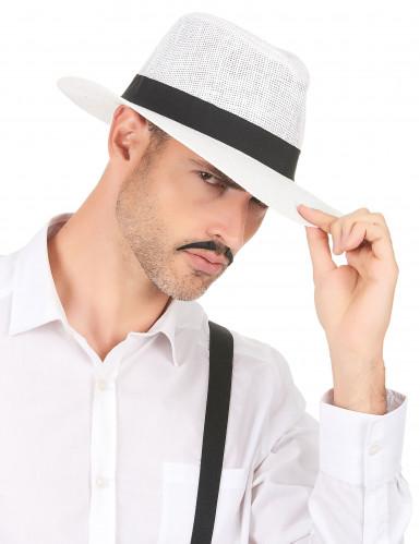 Vit Panama hatt med svart band-2
