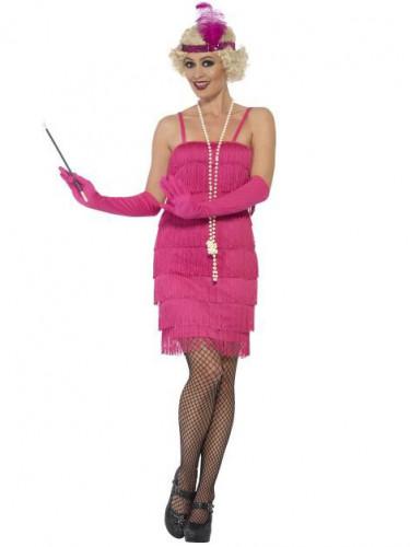 Disfraz Charlestón rosa fucsia mujer