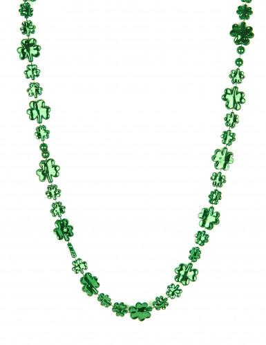 Glittrande grönt fyrklövershalsband St Patrick's
