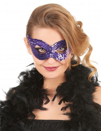 Lila paljettäckt venetiansk ögonmask för vuxna