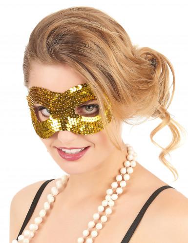 Guldfärgad ögonmask med paljetter för vuxna