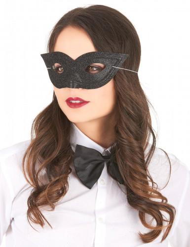 Svart venetiansk ögonmask med glitter