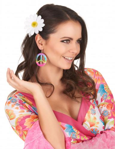 Flerfärgade plastörhängen Peace&Love för vuxna-1