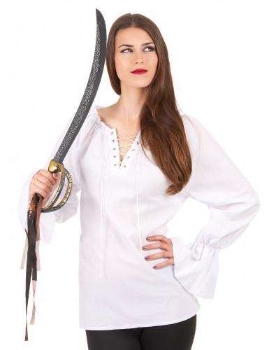 Långärmad vit skjorta dam