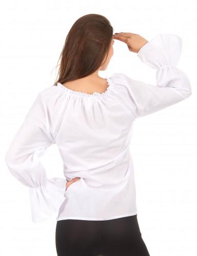 Långärmad vit skjorta dam-1