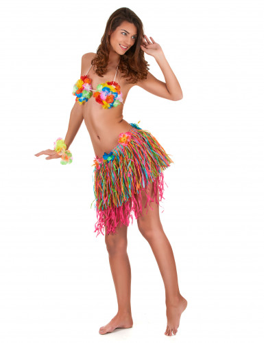 Flerfärgad Hawaii-kjol med blommor vuxen-1