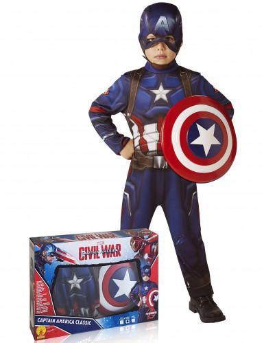 Captain America™ dräkt med sköld Barn