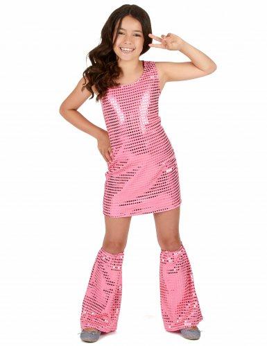 Discoklänning och benvärmare med paljetter för barn